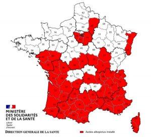 Carte officielle de la présence des moustiques tigres sur le territoire français